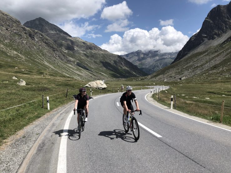 Radfahrer auf dem Julierpass