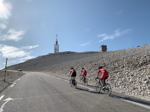 Three cyclist on Mont Ventoux