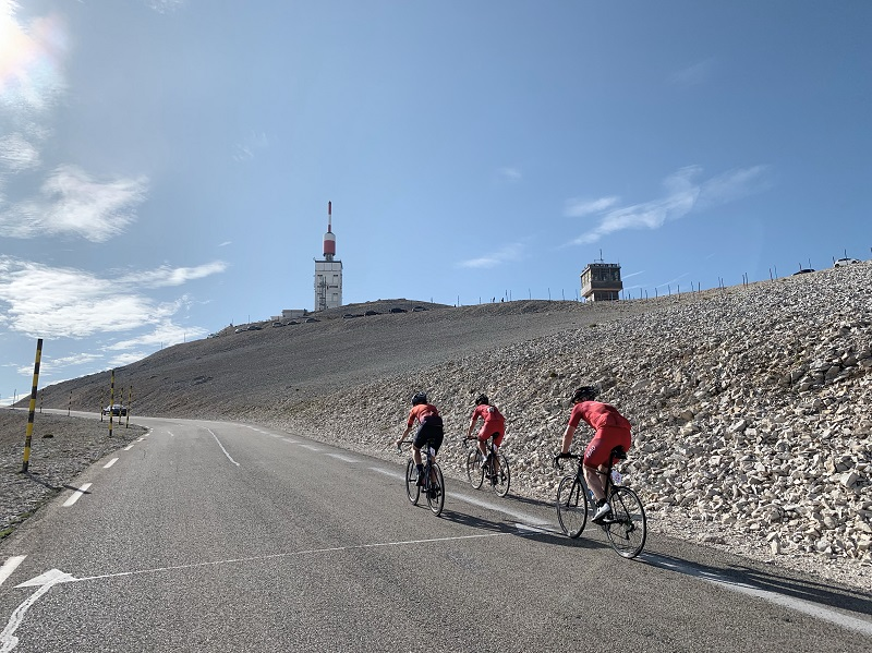 Three cyclist on Mont Ventoux