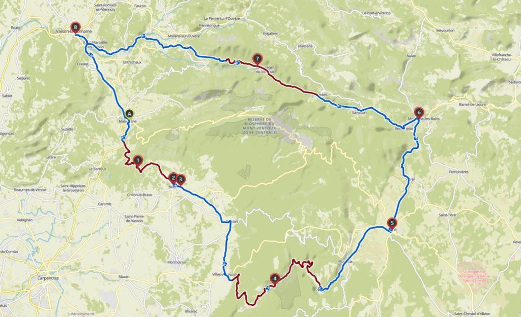 Karte Rennradtour Gorge de las Nesque und um den Mont Ventoux